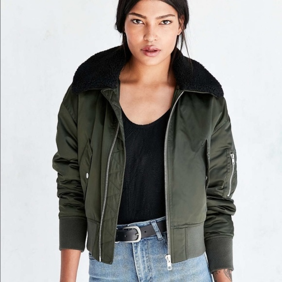 9675e2d6b Urban Outfitters Cropped Bomber Pilot Jacket